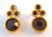 Vintage Black And Gold Napier Earrings.